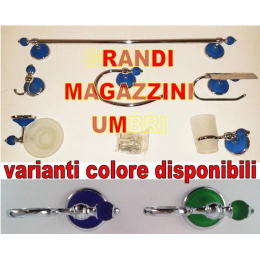 Set kit accessori bagno 6pcs acciaio vetro satinato cromo - Accessori bagno in acciaio ...