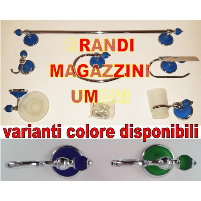 set kit accessori bagno 6pcs acciaio vetro satinato cromo - Kit Arredo Bagno