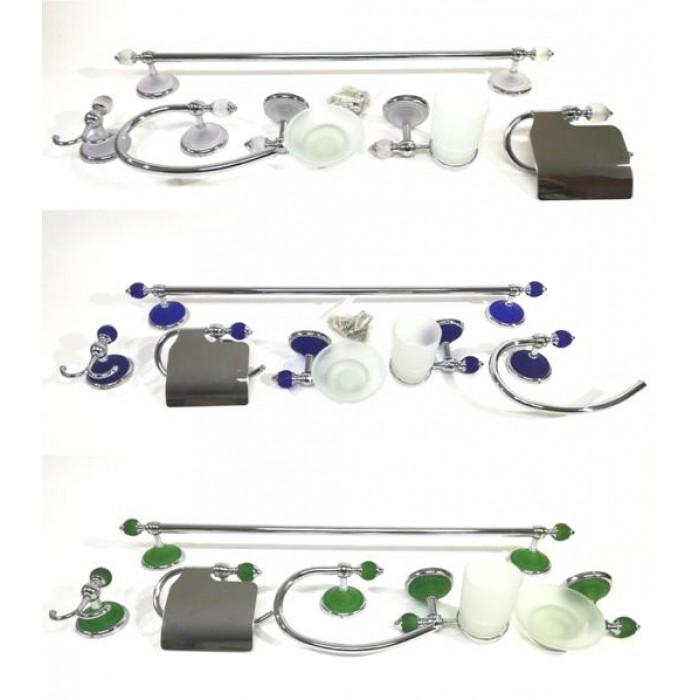 Accessori Bagno Acciaio Satinato.Set Accessori Bagno 6 Pezzi Acciaio Vetro Satinato Cromo Kit Accessori Bagno