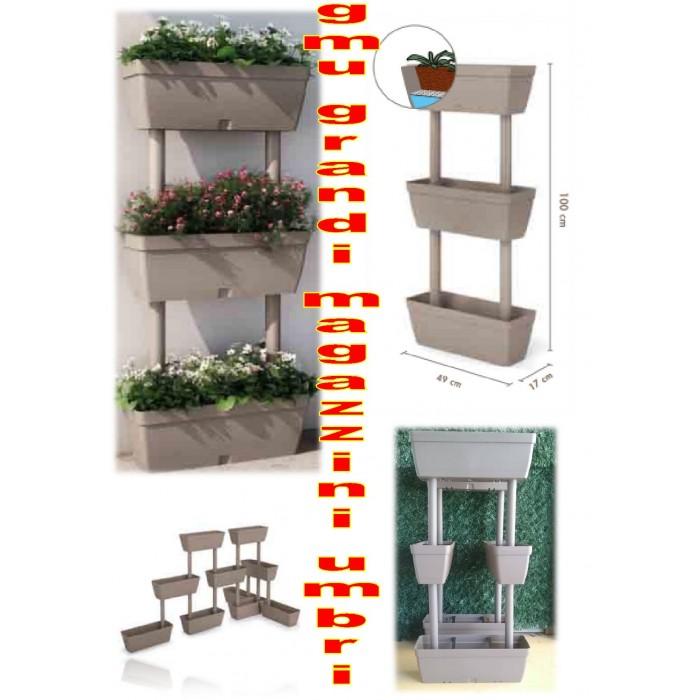 Kit 3 vasi fioriera fioriere orto verticale tortora vasi for Fioriera verticale ikea
