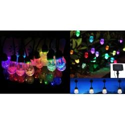 CATENA LED RGB 12 BULBI ENERGIA SOLARE BIANCO+7COL