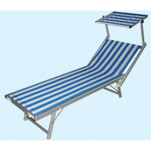 Lettino Mare Spiaggia mod. Rimini con Parasole Alluminio Pesante