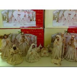 Natività 11pz H18 Gesu Giuseppe Maria Magi Veste Panna